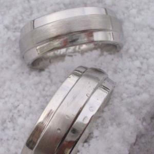 wedding bands in 18k white gold